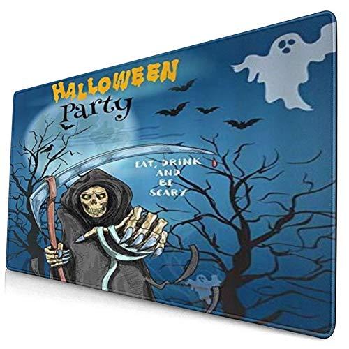 LASINSU Alfombrilla Gaming,Halloween Muerte Guadaña Fantasma Horror Diablo Noche Dibujos Animados Azul Negro,con Base de Goma Antideslizante,750×400×3mm