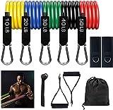 Bandas Elasticas Musculacion, Bandas de Resistencia con Cinco Tubo de Látex,Bandas Elástica Fitness para Entrenamiento de Resistencia Yoga, Crossfit, Pilates Fuerza, Movilidad