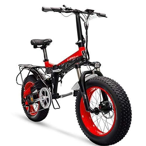 Cyrusher X3000 Electric Bike 204 Inch Fat Tire Folding Mountain Bike 500 Watt 48V Ebike for Adults with 14.5Ah Battery (Red)