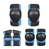 Kaiyei Adulto Niños Protecciones Skateboard 6 Piezas Conjuntos, Rodilleras & Muñequera & Coderas, Proteccion Kit para Patines Ciclismo Rollers Skate Scooter MTB Azul L