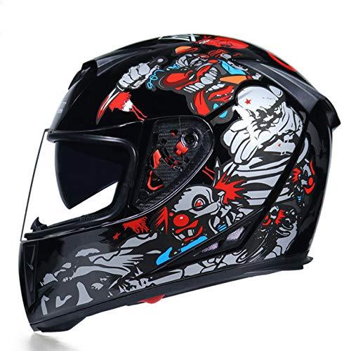 IAMZHL Waschbares Innenfutter mit Motorradhelm und doppeltem Objektiv Stilvoller, schnell lösbarer Rennhelm Casco Casque Moto-a51-L