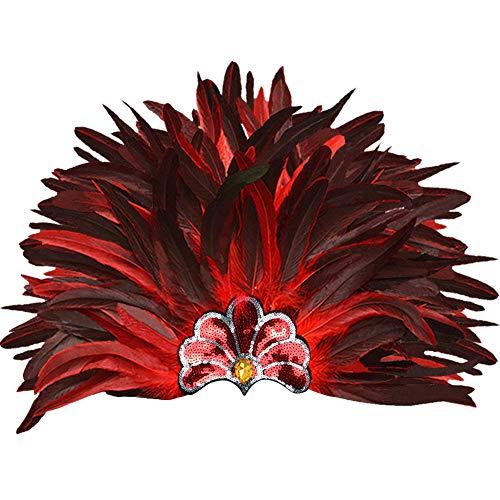 Zwarte Veer Hoofdtooi Masker, Venetiaanse Carnaval Aboriginal Kroon Schouderophalend Schouder