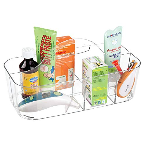 mDesign - Babykamerorganizer - mandje - voor het organiseren van flessen, lepels, slabbetjes, spenen, luiers, doekjes, babylotion - met handvat/gescheiden compartimenten/plastic/BPA-vrij - groot - doorzichtig