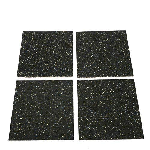 Ybaymy, 4 tappetini ad incastro in gomma ad alta densità, per allenamenti in casa, palestra, yoga, 50 x 50 x 2,5 cm
