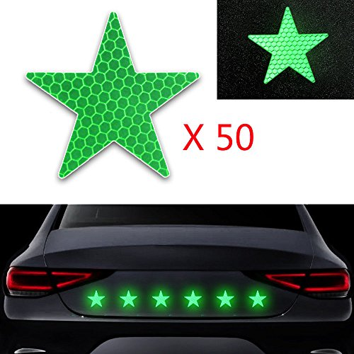 50x Reflective Reflector Sticker Self Adhesive Safety Warning Conspicuity Tape for Car Truck Motorcycle Trailer Mailbox Outdoor Star Shape Green