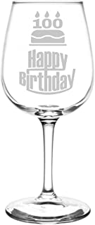 Personalized & Custom (100th) Three Tier Happy Birthday Cake Inspired - Laser Engraved 12.75oz Libbey All-Purpose Wine Taster Glass