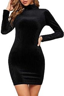 AMABILEMIA Vestito Corto Elegante Donna Mini Abito Sexy in Velluto Vestito Aderente Nero Abito da Sera con Maniche Lunghe ...