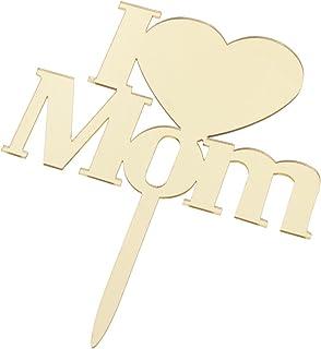 HOMYL Romantic Mom Mum Mirror Acrylic Cake Topper Mothers Day Birthday Cake Picks Cake Sticks Party Decorations - 2, 13.8 ...