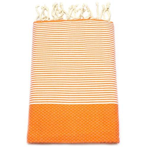 ANNA ANIQ Hamamtuch Fouta Sauna-Tuch XXL Extra Groß 100x200cm - 100% Baumwolle aus Tunesien als Strand-Tuch, orientalisches Bade-Tuch, Picknick, Yoga, Schal, Pestemal, Strand-Handtuch (Orange)