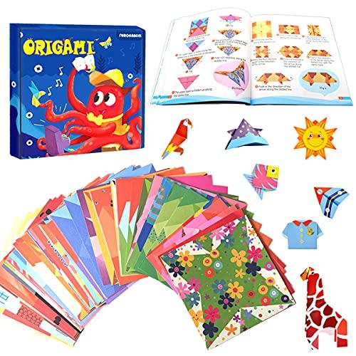 ZXT Kit di Origami,108pcs Origami per Bambini Doppia Faccia Fogli Colorati di 54 Bellissimi Modelli Diversi, con Libretto di Istruzioni di 55 Pagine Kit Origami Fai da Te per Bambini
