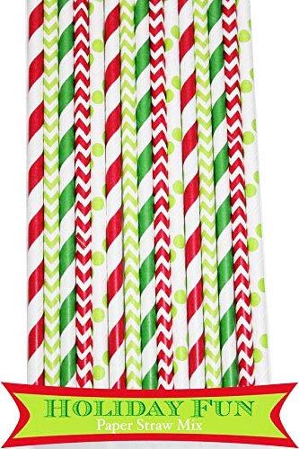 125 Pcs Christmas Green and Red Stripe Dot Chevron Paper Straw Mix