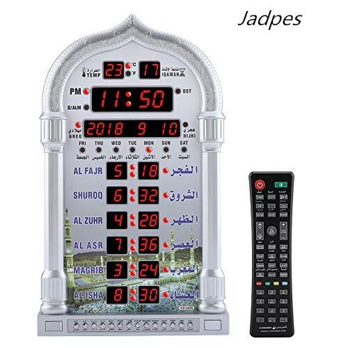 Azan Gebetstisch Wecker,Jadpes Digitale Automatische Betende Wanduhr Manuelle Fernbedienung Automatik Gebetsuhr Muslim Islamischen AZAN Betende LCD Wanduhr für Zuhause/Büro/Moschee Decor,110-240V