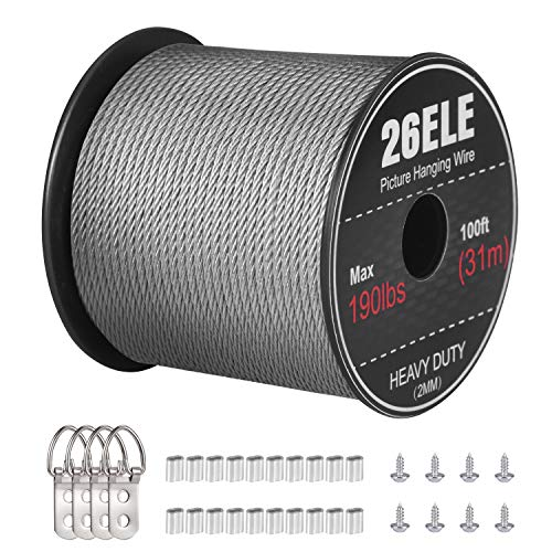 26ELE Picture Hanging Wire 190lbs, Heavy Duty Stainless Steel Wire Rope for Hanging Picture Frame Mirror and Wall Art, Strong Metal Wire 100Feet with 20PCS Crimping Sleeves, 4 D Rings and 8 Screws