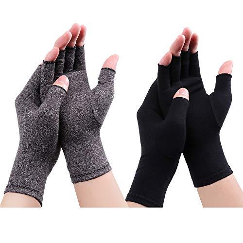 Arthritis Handschuhe - Kompression Arthritis Handschuhe Anti-Arthritis Handschuhe Rheumatische Arthritis Fingerlose Handschuhe für Schmerzlinderung die Blutzirkulation zu erhöhen (Schwarz A+Grau A, S)