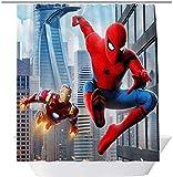 vrupi Disney Marvel Spider-Man Duschvorhang Schlafsaal Dekorative Gardinen Kinderzimmer Dekoration 71x71inch Waschen wasserdichtes Gewebe einschließlich zwölf Kunststoffhaken