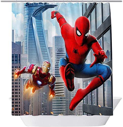 vrupi Disney Marvel Spider-Man Duschvorhang Schlafsaal Dekorative Vorhänge Kinderzimmer Dekoration 71x71inch Waschen wasserdichtes Gewebe einschließlich zwölf Kunststoffhaken