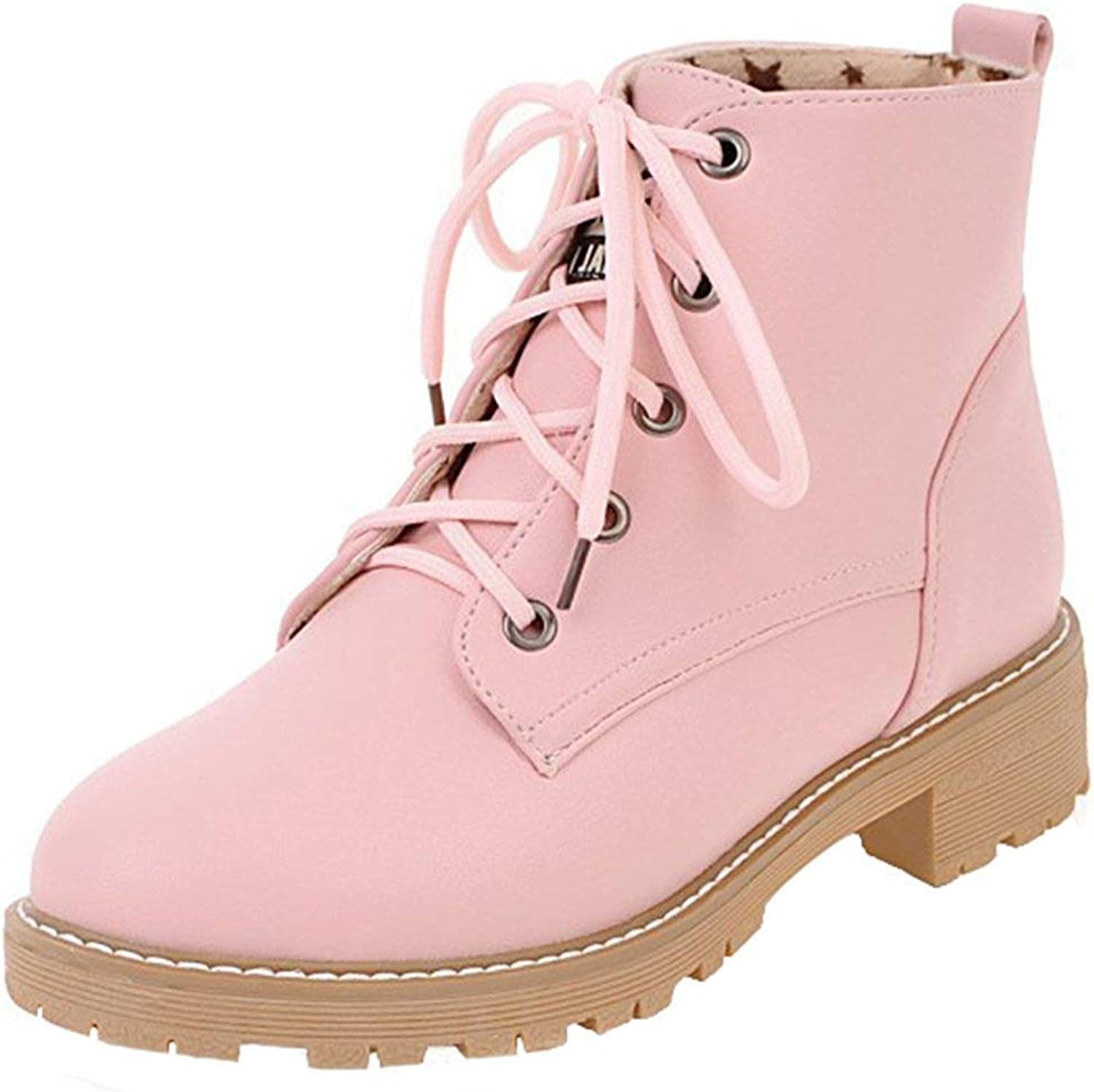 Ghapwe Women's Casual Round Toe Low Block Heel Platform Short Martin Boots Lace Up Ankle Booties Pink 7.5 M US