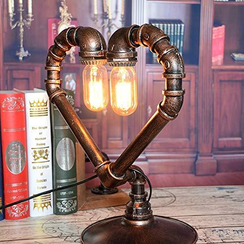 Lámpara de escritorio VIWIV Lámpara de hierro arte agua pipa de agua de la lámpara de mesa con forma de corazón Personalidad retro Lámpara de amor Restaurante Café Protección de ojos for el hogar Lámp