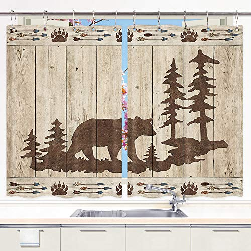 Bear Kitchen Curtains, Wild Animals Rustic Cabin Forest Bear Paw Print Wooden Board Premium Decor Window Drapes Curtains 2 Panels, Upgrade Window Treatment Sets with Hooks, 55X39Inches