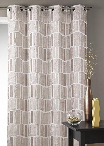 Homemaison hm69422989Vorhang aus Jacquard, Bedruckt rechteckig Silber 140x 245cm