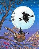 Refosian 8X10 Zoll Druck DER URSPRÜNGLICHEN MALEREI Herbst Halloween Hexe Pheasant Black CAT Fall VOLLMOND Landschaft SAISONAL INNENHAUS Haus Design DEKOR Dekoration FEINE Wand Art