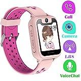 PTHTECHUS Telefono Reloj Inteligente LBS Niños - Smartwatch con Localizador LBS Juegos Despertador Camara Linterna per Niño y Niña de 3-12 Años (LBS, Rosa)