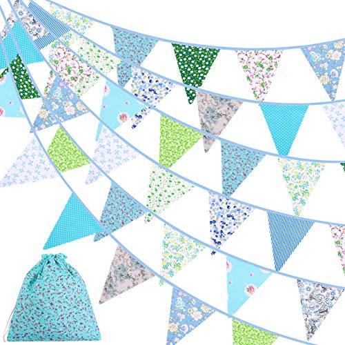 ADXCO 41 Feet Fabric Bunting Banner Vintage Bunting Flag 42 Pieces Floral Pennants Triangle Flags Double-sided Cloth Garland for Birthday Wedding Party Home Garden Baby Shower Decor, Green and Blue