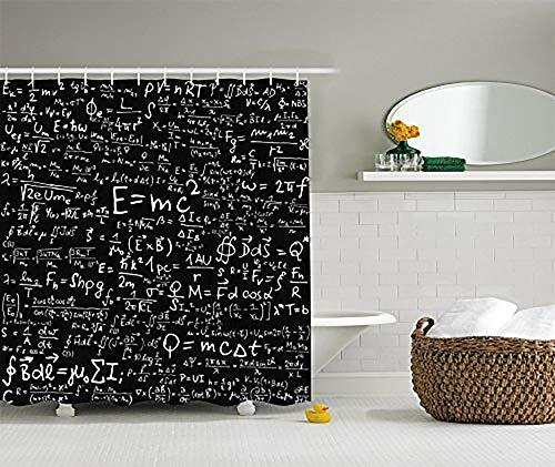 Doormat-bag Einstein Physics Formula Science Geek Black White Fabric Shower Curtain Gift Elusive to Your Curtain Call 48x72inch