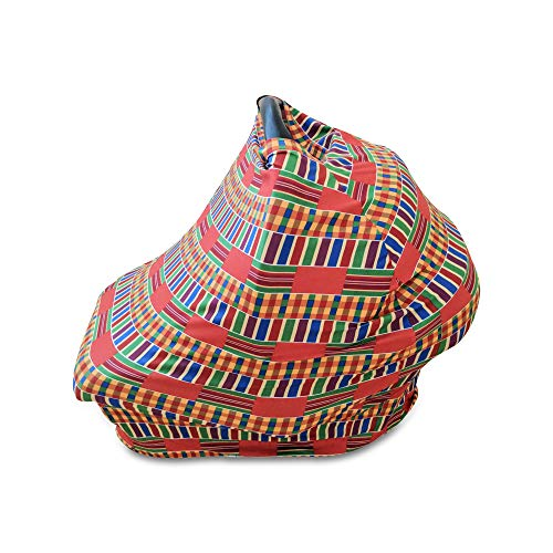 Read About Baby Carseat Nursing Cover Multi-use in Stretchy Breathable African Kente Print (Multi-Co...