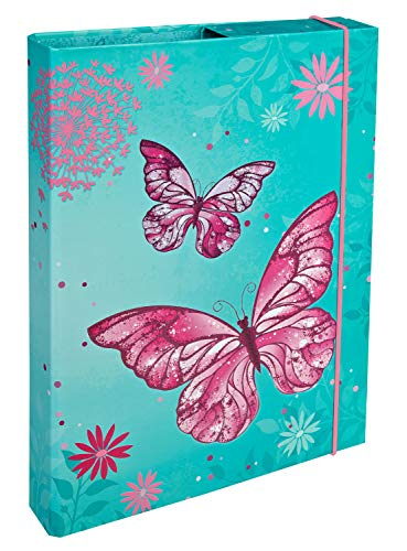 Undercover BUTE0940 Heftbox A4 mit Spanngummi, Butterfly, ca. 32 x 24 x 4 cm