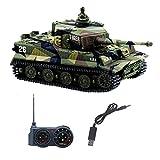 YouCute Mini RC Serbatoio con Cavo di Ricarica USB Telecomando Serbatoio Panzer 1:72 Tigre Tedesca I con Suono Manuale Italiano 27MHz(Verde)