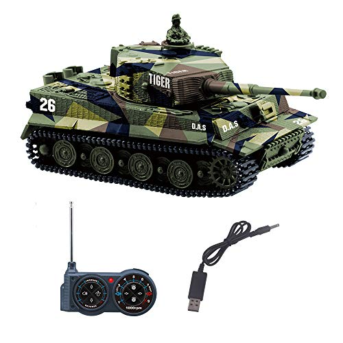 YouCute mini RC Tank with USB charger cable Remote Control Panzer tank 1:72 German Tiger I with Sound, Rotating Turret and Recoil Action When Cannon Artillery Shoots 27MHz(Green)