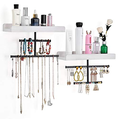 Keebofly Hanging Wall Mounted Jewelry Organizer with Rustic Wood Jewelry Holder Display for Necklaces Bracelet Earrings Ring Set of 2 White