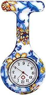 Lovke Nurses Fashion Coloured Patterned Silicon Fob Watches Print Nurses Watch_Orchid