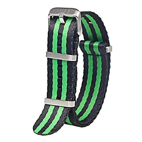 WNFYES 20mm 22mm cinturón de Seguridad Reloj con Correa de Nylon Correa de Reloj de Nailon (Band Color : Black Green S, Band Width : 22mm)