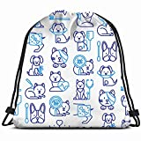 DHNKW Veterinary Clinic Pattern Thin Line Healthcare Medical Drawstring Bag for Women Drawstring Hiking Backpack Gym Bag for Women 17X14 inch