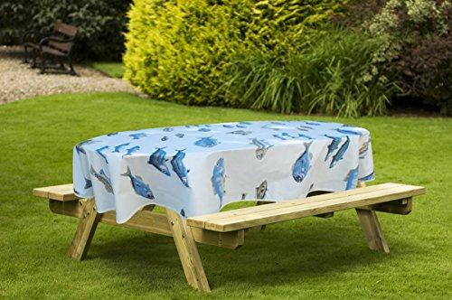 jojo la cigale - Nappe CALANQUES Coton Imprimé Enduit Ovale 160x250cm Blanc & Bleu