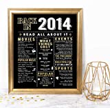 Katie Doodle 7th Birthday Decorations Anniversary Copper Gifts for Him Her or Boys Girls 7 Years Old - Includes 8x10 Back in 2014 Sign [Unframed], Black and Gold