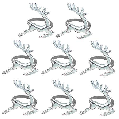 BESTOYARD Serviettenring Silber Hirsch Elch Form Serviettenhalter für Gedecke Hochzeit Abendessen Familientreffen 8 Stück (Silber)