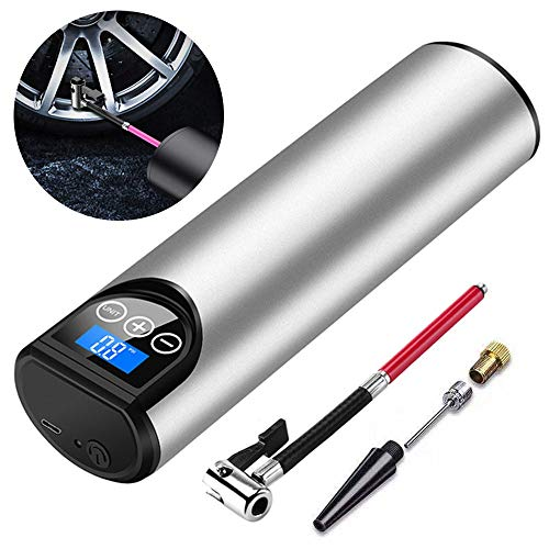 EEUK Bomba de Aire Inalámbrica Inteligente Portátil con Pantalla LCD Digital y luz LED de Emergencia,Mini Compresor de Aire 220V para Bicicleta, Baloncesto, Coche, Piscina Inflable