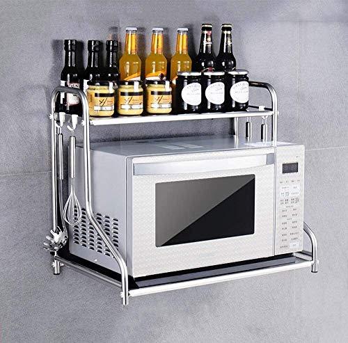 Multifunción Hogar del horno microondas estante de la cocina for guardar estante de acero inoxidable Microondas Horno estante Estantería de pared Percha Soporte de almacenamiento de cocina LINGZHIGAN