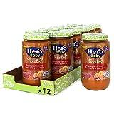 Hero Baby Trocitos Tarrito de Puré de Espaguetis con Ternera y Jamón Alimento para Bebés a partir de 12 meses Pack de 12 x 235 g