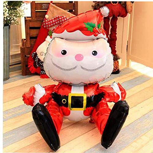 Aisoway Sitting Santa Claus Foil Balloon Merry Christmas Party Decoration Supplies