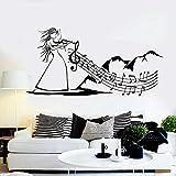 Vinilo adhesivo de pared con diseño de música folk para violín, nota musical, arte mujer, vinilo adhesivo para pared para el hogar, dormitorio, sala de estar, decoración murales, 58 x 29 cm
