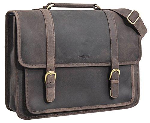 Gusti Leder studio 'Greg' borsa per computer 17' lavoro università con interno impermeabile elegante marrone antico 2H5-20-4wp