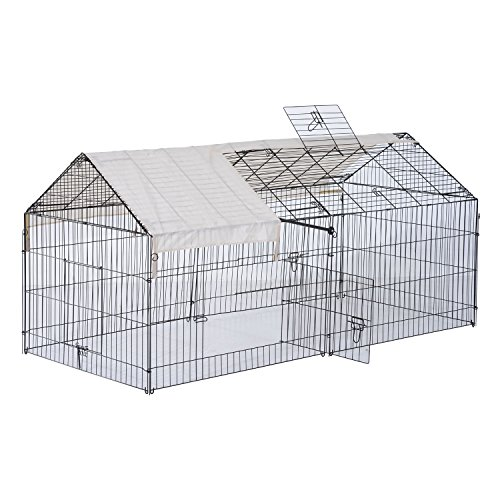"PawHut 87"" x 41"" Outdoor Metal Pet Enclosure Small Animal Playpen Run for Rabbits, Chickens, Cats, Small Animals, Black & White"