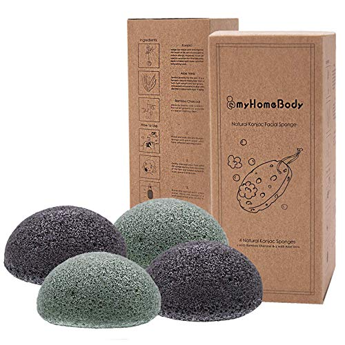 Natural Konjac Facial Sponges - for Gentle Face Cleansing and Exfoliation - with Activated Charcoal and Aloe Vera, 4pc. Set