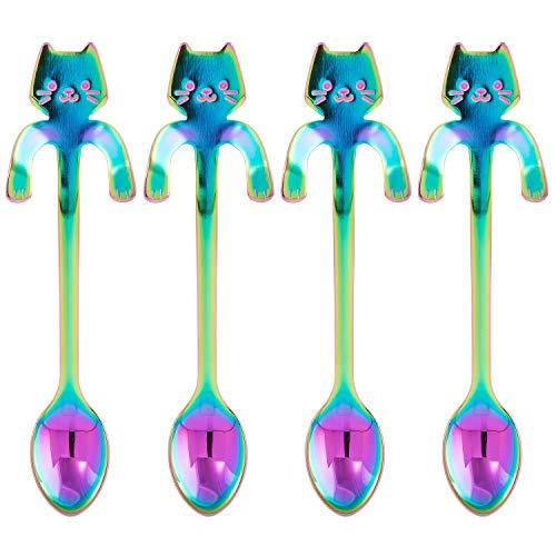 BingGoGo Stainless Steel Spoons,Cat Coffee Spoon,Set of 4