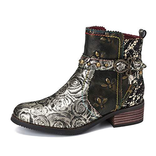 gracosy Leder Stiefeletten Damen mit Absatz, Bunte Stiefel mit Lederschnalle und Reißverschluss Komfort Retro Handgemachte Spleißmuster Kurze Stiefel 2019 Herbst Winter Schuhe Enegant Party Schuhe