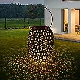 Farol Solar Exterior Jardin, Luz de Linterna LED, Lámpara Camping Recargable Portatil Colgante, Luces Decorativas para JardínCésped Patio Festival Navidad Terraza